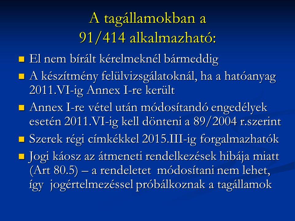 A tagállamokban a 91/414 alkalmazható: El nem bírált kérelmeknél bármeddig El nem bírált kérelmeknél bármeddig A készítmény felülvizsgálatoknál, ha a