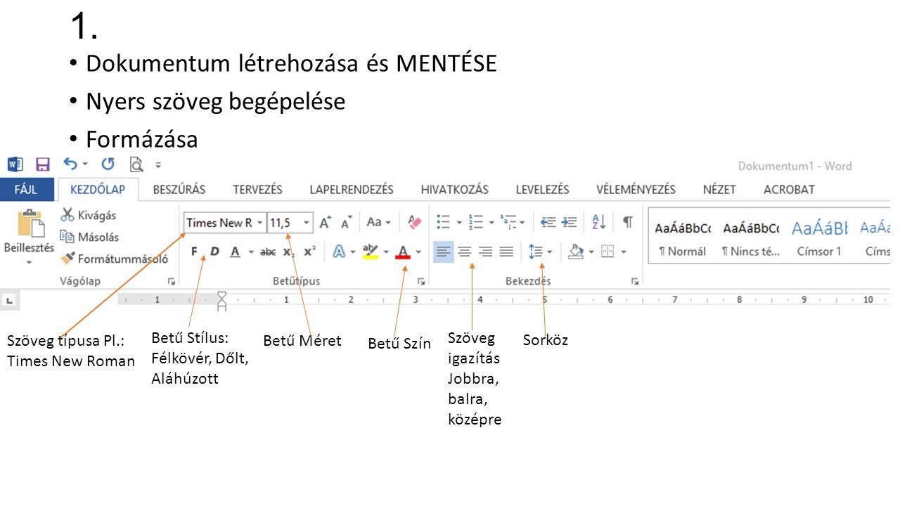 1. Dokumentum létrehozása és MENTÉSE Nyers szöveg begépelése Formázása Szöveg típusa Pl.: Times New Roman Betű Stílus: Félkövér, Dőlt, Aláhúzott Betű