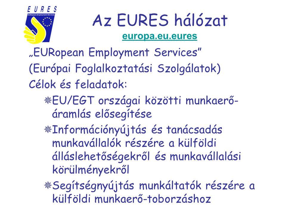 """Az EURES hálózat europa.eu.eures europa.eu.eures """"EURopean Employment Services (Európai Foglalkoztatási Szolgálatok) Célok és feladatok:  EU/EGT országai közötti munkaerő- áramlás elősegítése  Információnyújtás és tanácsadás munkavállalók részére a külföldi álláslehetőségekről és munkavállalási körülményekről  Segítségnyújtás munkáltatók részére a külföldi munkaerő-toborzáshoz"""