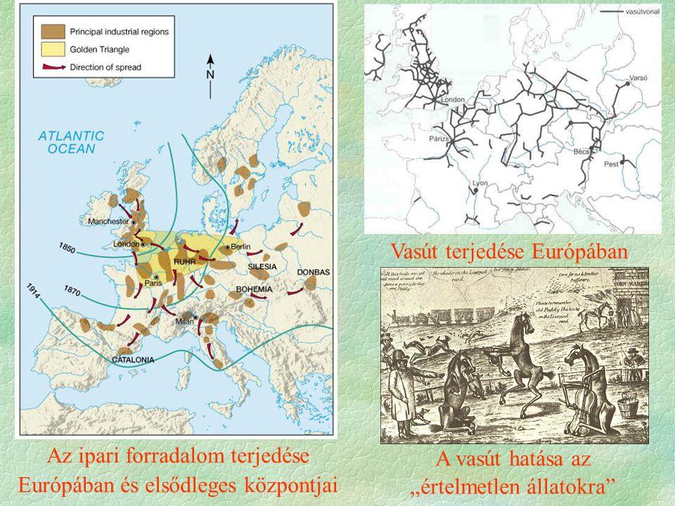 """Az ipari forradalom terjedése Európában és elsődleges központjai A vasút hatása az """"értelmetlen állatokra Vasút terjedése Európában"""