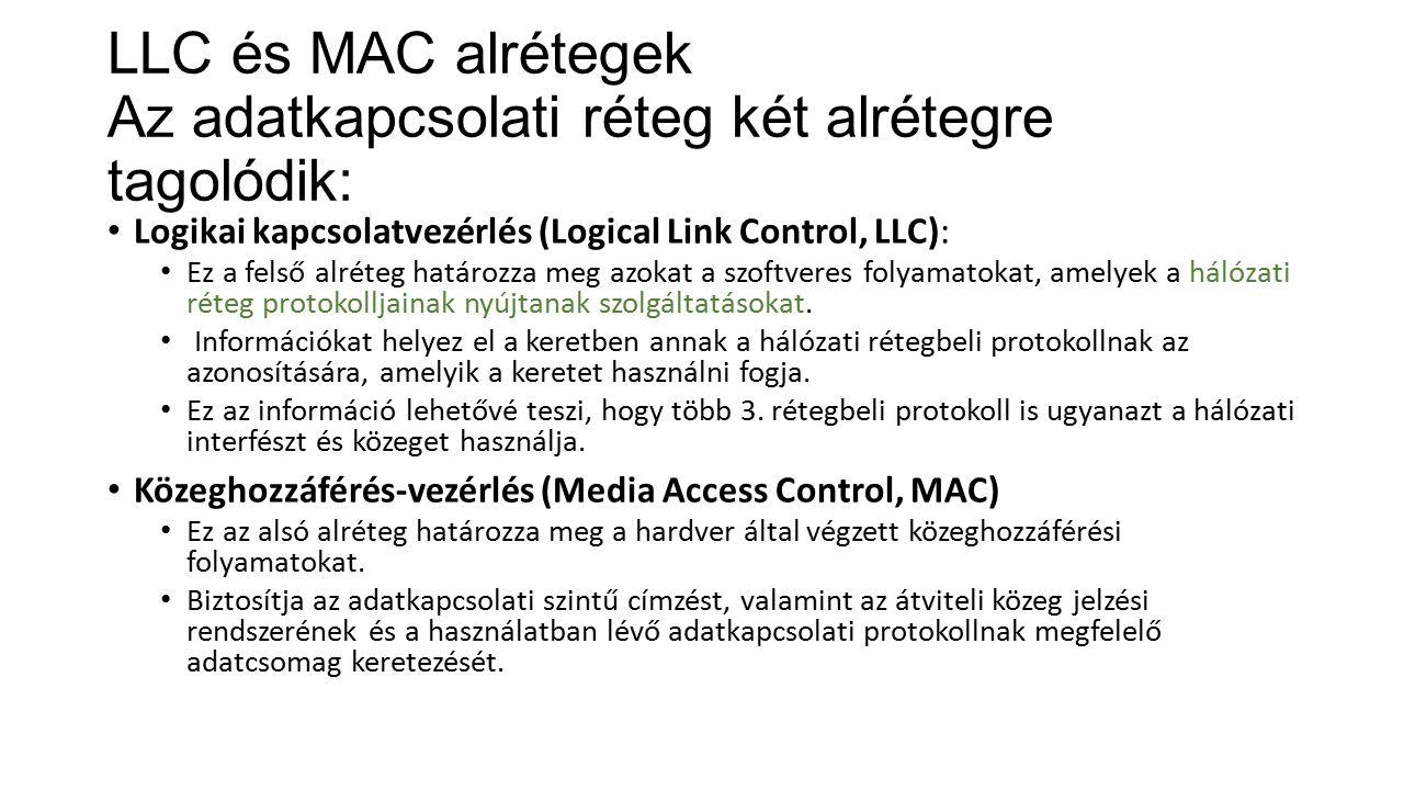 LLC és MAC alrétegek Az adatkapcsolati réteg két alrétegre tagolódik: Logikai kapcsolatvezérlés (Logical Link Control, LLC): Ez a felső alréteg határozza meg azokat a szoftveres folyamatokat, amelyek a hálózati réteg protokolljainak nyújtanak szolgáltatásokat.