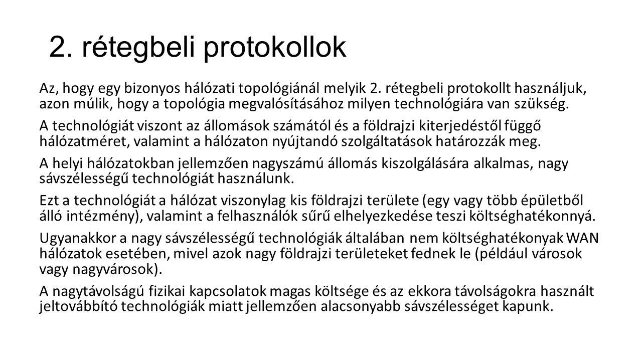 2. rétegbeli protokollok Az, hogy egy bizonyos hálózati topológiánál melyik 2. rétegbeli protokollt használjuk, azon múlik, hogy a topológia megvalósí