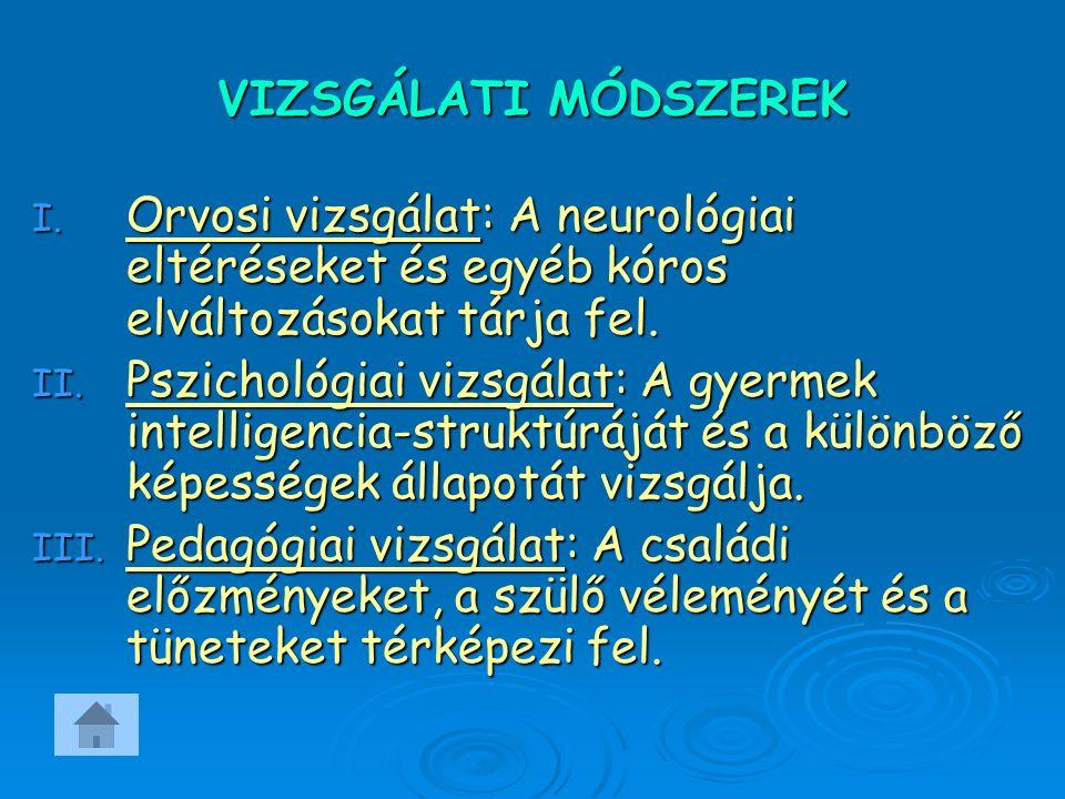 VIZSGÁLATI MÓDSZEREK I.