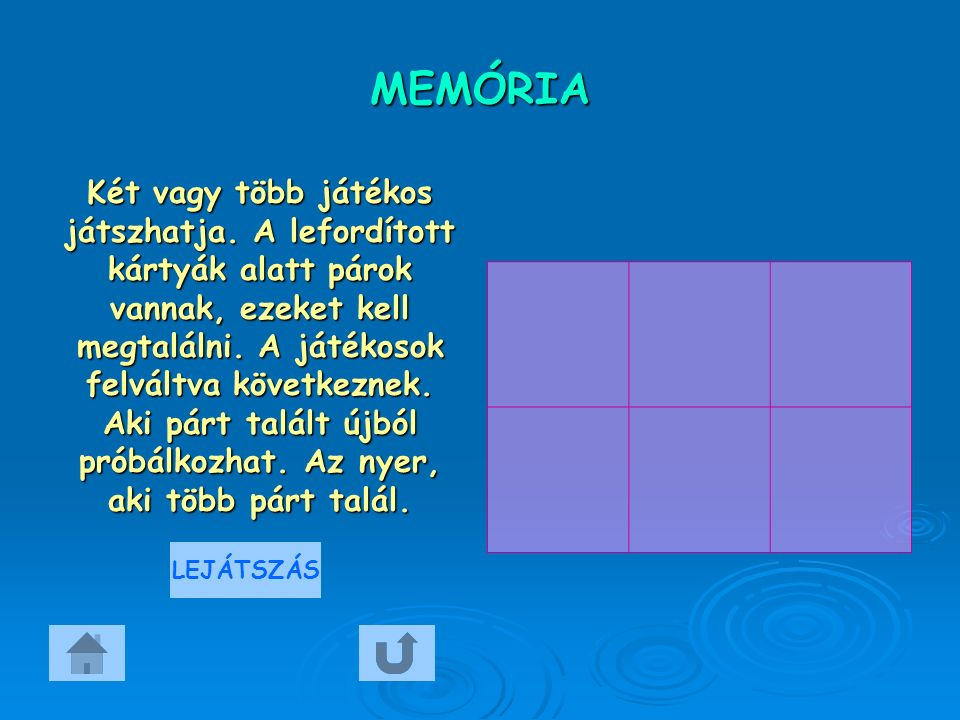 MEMÓRIA Két vagy több játékos játszhatja. A lefordított kártyák alatt párok vannak, ezeket kell megtalálni. A játékosok felváltva következnek. Aki pár