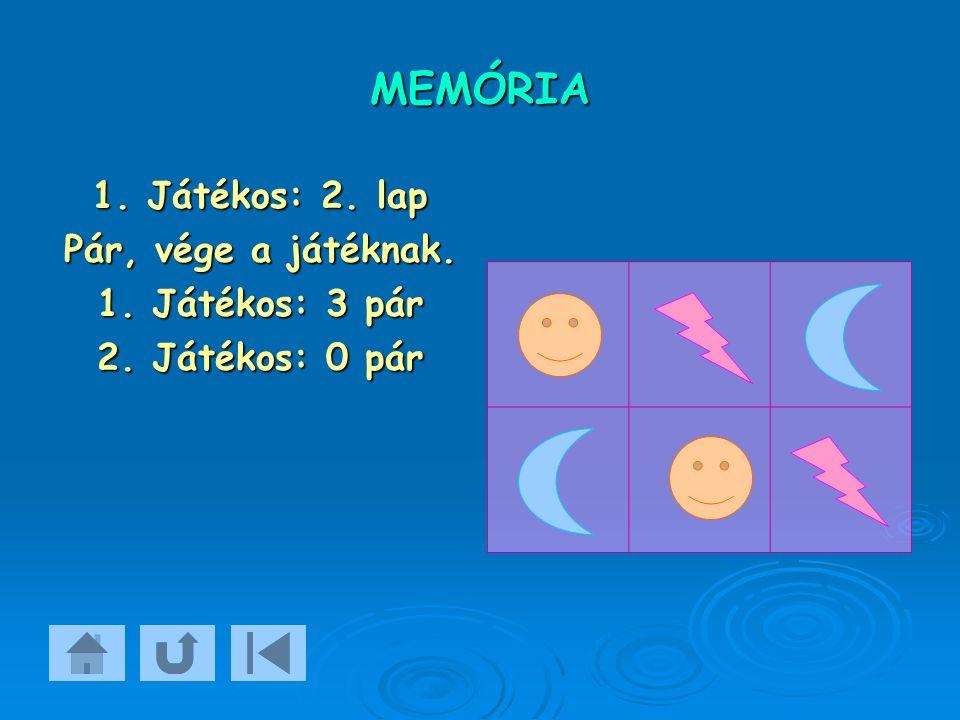 MEMÓRIA 1. Játékos: 2. lap Pár, vége a játéknak. 1. Játékos: 3 pár 2. Játékos: 0 pár