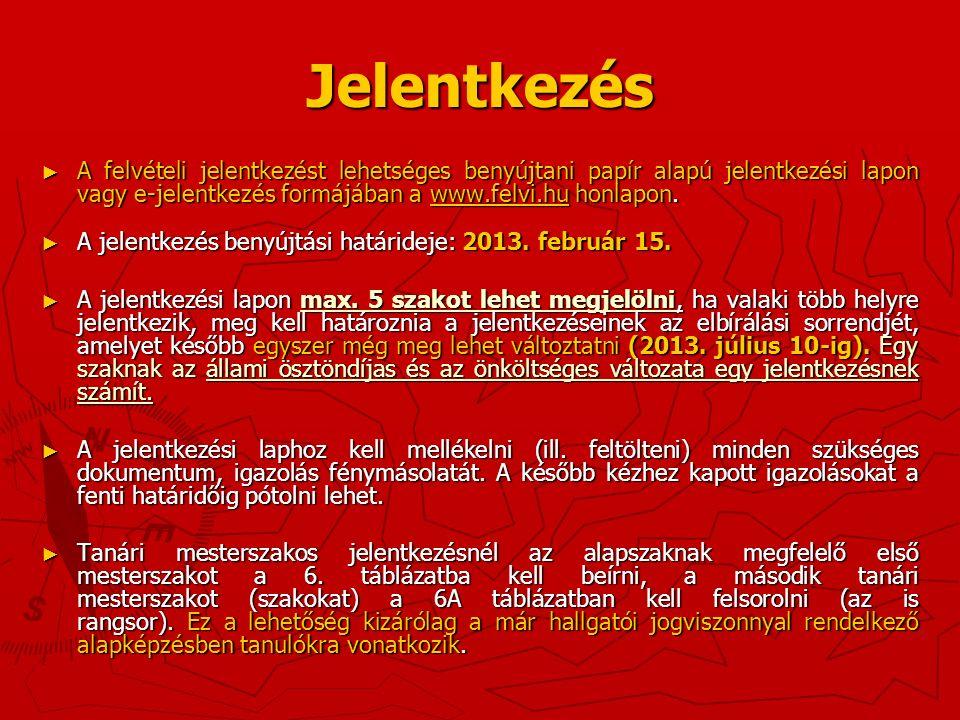 Jelentkezés ► A felvételi jelentkezést lehetséges benyújtani papír alapú jelentkezési lapon vagy e-jelentkezés formájában a www.felvi.hu honlapon.