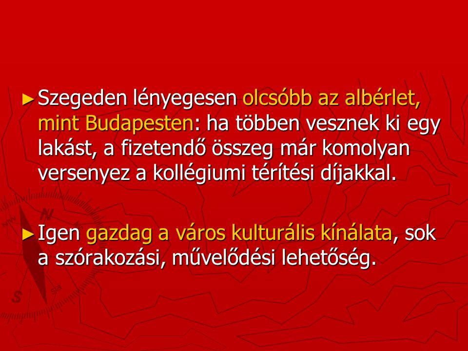 ► Szegeden lényegesen olcsóbb az albérlet, mint Budapesten: ha többen vesznek ki egy lakást, a fizetendő összeg már komolyan versenyez a kollégiumi térítési díjakkal.