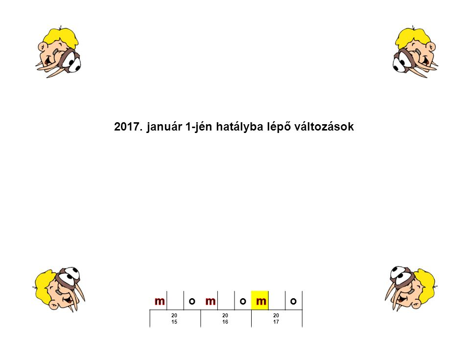 2017. január 1-jén hatályba lépő változások ooo 20 15 20 16 20 17
