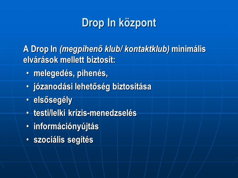 Drop In központ A Drop In (megpihenő klub/ kontaktklub) minimális elvárások mellett biztosít: melegedés, pihenés, melegedés, pihenés, józanodási lehetőség biztosítása józanodási lehetőség biztosítása elsősegély elsősegély testi/lelki krízis-menedzselés testi/lelki krízis-menedzselés információnyújtás információnyújtás szociális segítés szociális segítés