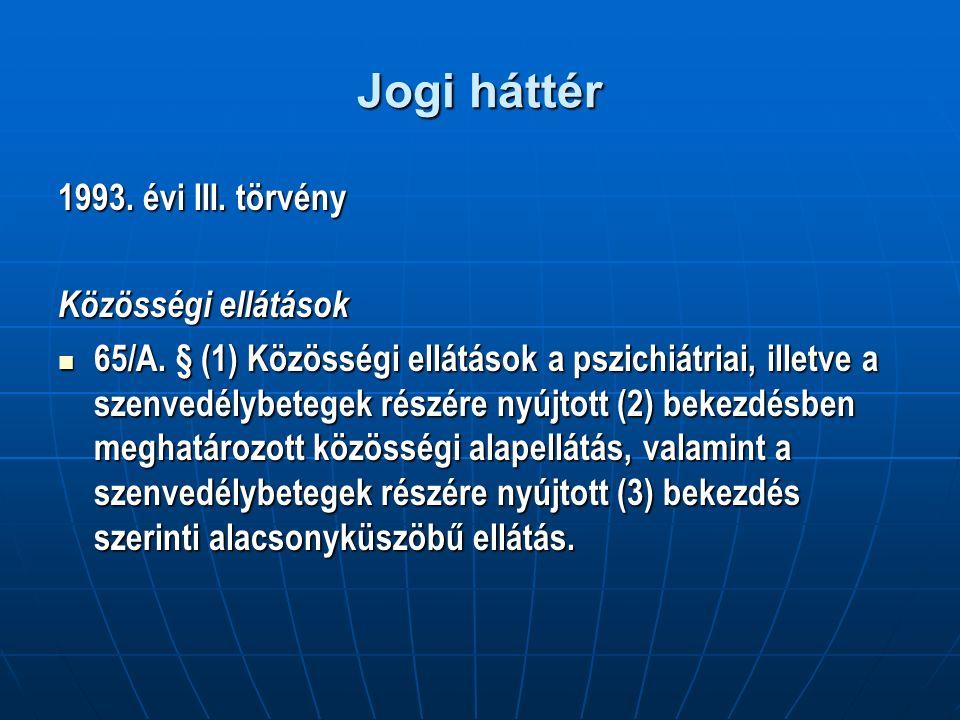 Jogi háttér 1993. évi III. törvény Közösségi ellátások 65/A.