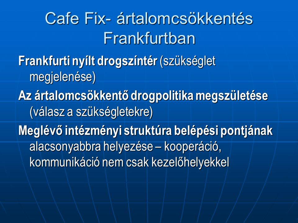 Cafe Fix- ártalomcsökkentés Frankfurtban Frankfurti nyílt drogszíntér (szükséglet megjelenése) Az ártalomcsökkentő drogpolitika megszületése (válasz a szükségletekre) Meglévő intézményi struktúra belépési pontjának alacsonyabbra helyezése – kooperáció, kommunikáció nem csak kezelőhelyekkel