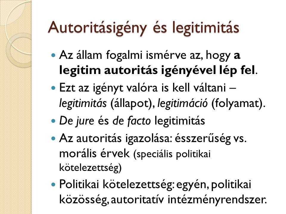 Autoritásigény és legitimitás Az állam fogalmi ismérve az, hogy a legitim autoritás igényével lép fel.