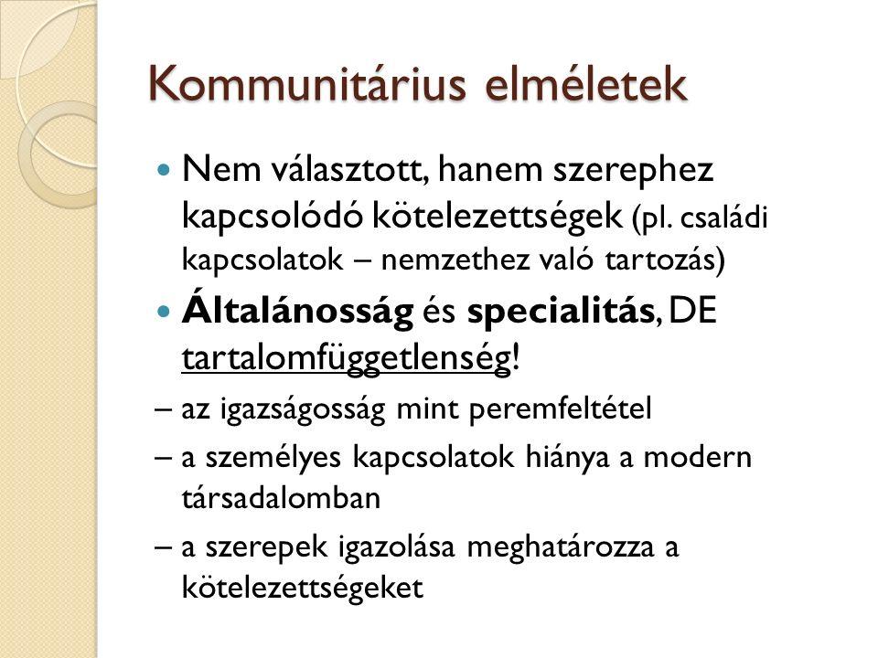 Kommunitárius elméletek Nem választott, hanem szerephez kapcsolódó kötelezettségek (pl.