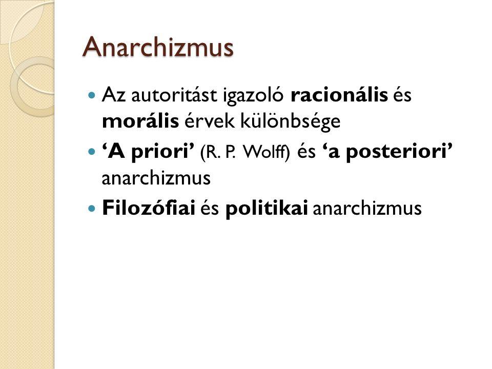 Anarchizmus Az autoritást igazoló racionális és morális érvek különbsége 'A priori' (R.