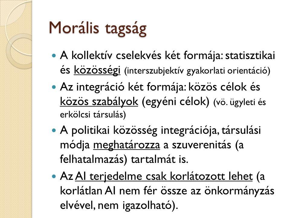 Morális tagság A kollektív cselekvés két formája: statisztikai és közösségi (interszubjektív gyakorlati orientáció) Az integráció két formája: közös célok és közös szabályok (egyéni célok) (vö.
