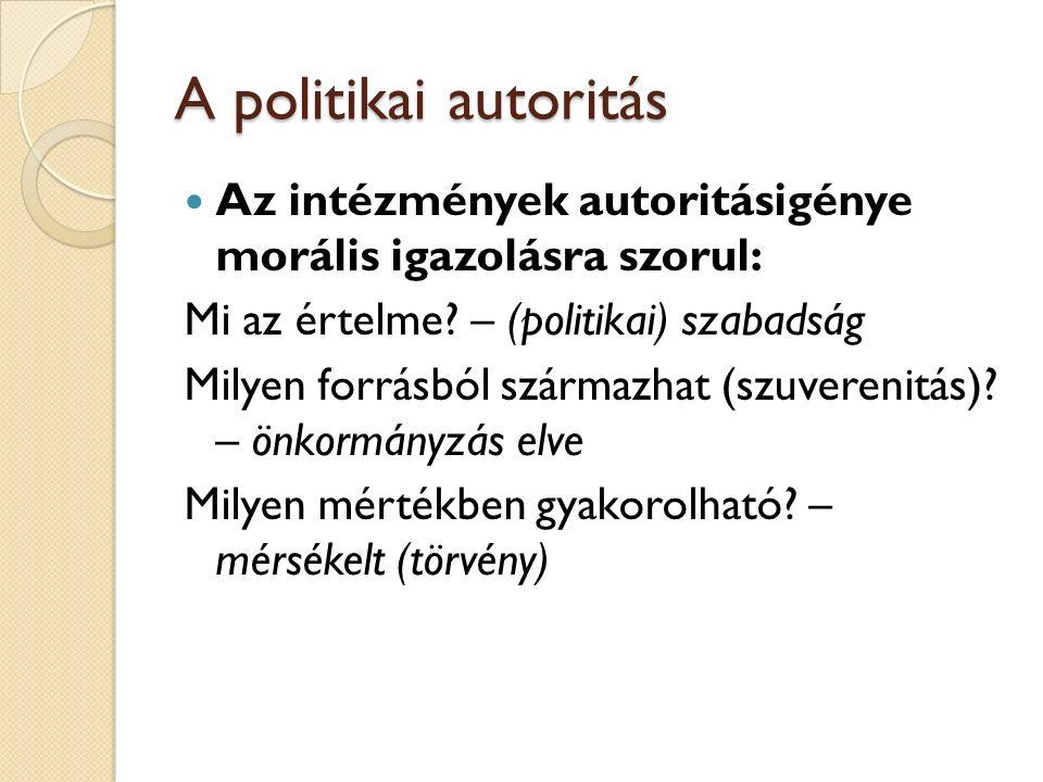 A politikai autoritás Az intézmények autoritásigénye morális igazolásra szorul: Mi az értelme.