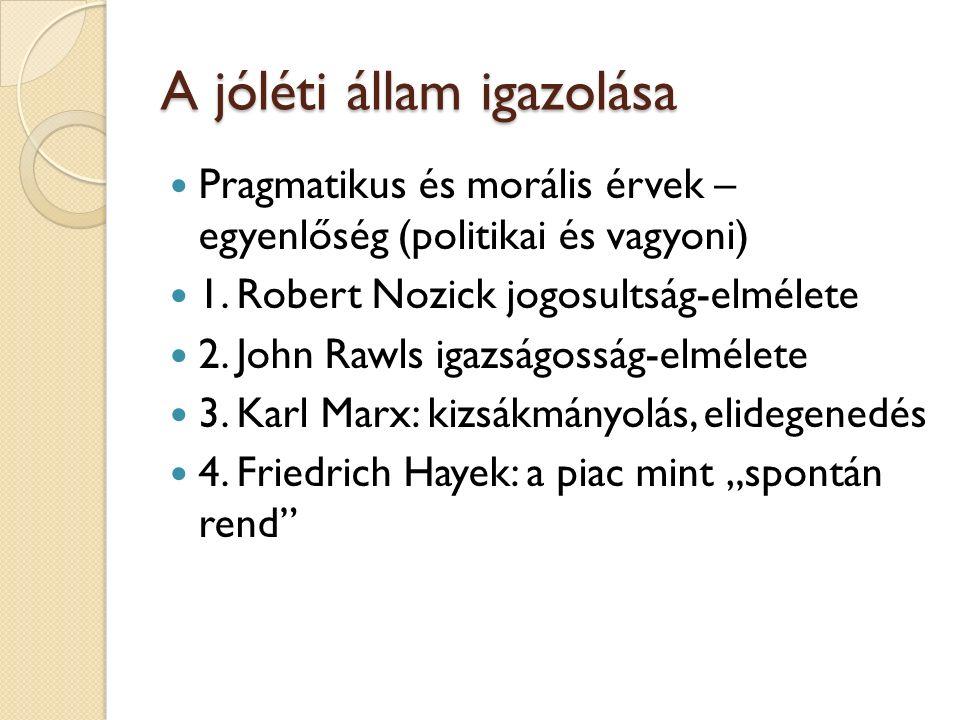 A jóléti állam igazolása Pragmatikus és morális érvek – egyenlőség (politikai és vagyoni) 1.