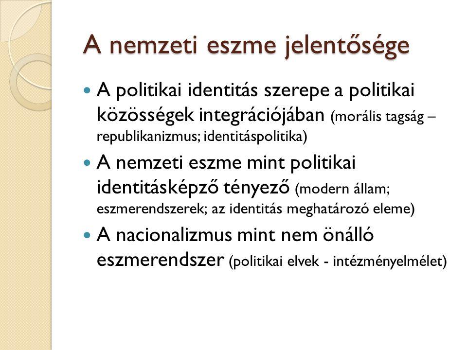 A nemzeti eszme jelentősége A nemzeti eszme jelentősége A politikai identitás szerepe a politikai közösségek integrációjában (morális tagság – republikanizmus; identitáspolitika) A nemzeti eszme mint politikai identitásképző tényező (modern állam; eszmerendszerek; az identitás meghatározó eleme) A nacionalizmus mint nem önálló eszmerendszer (politikai elvek - intézményelmélet)