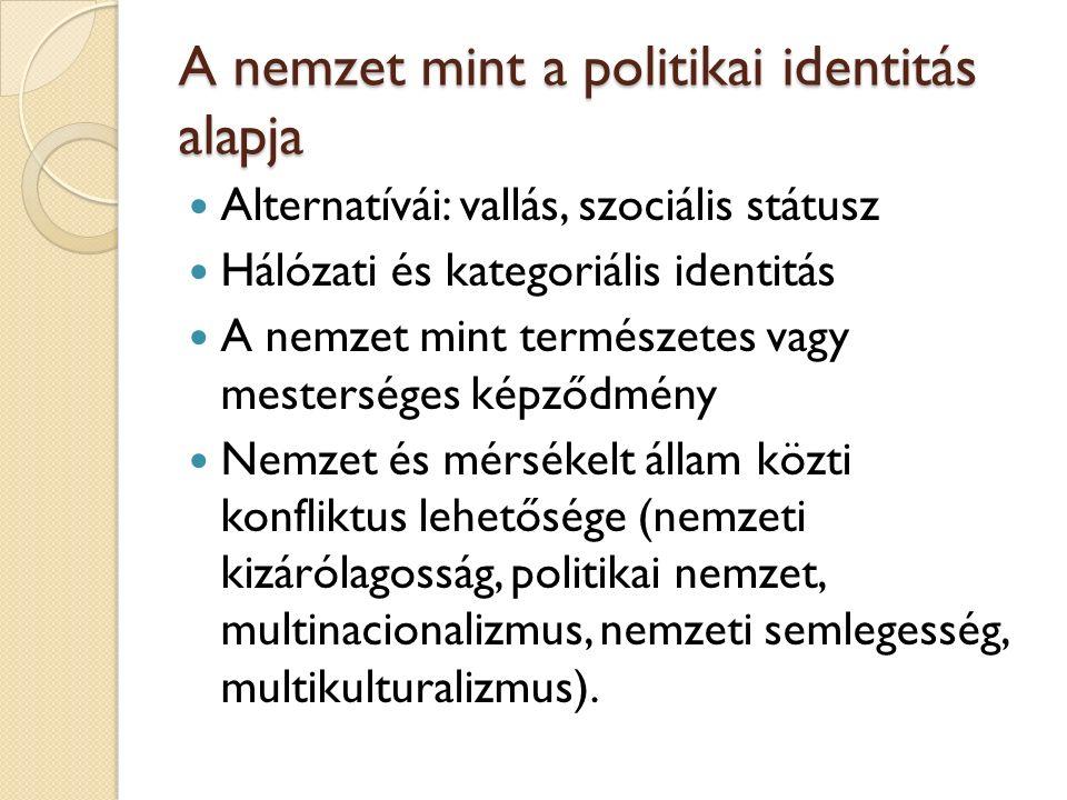A nemzet mint a politikai identitás alapja Alternatívái: vallás, szociális státusz Hálózati és kategoriális identitás A nemzet mint természetes vagy mesterséges képződmény Nemzet és mérsékelt állam közti konfliktus lehetősége (nemzeti kizárólagosság, politikai nemzet, multinacionalizmus, nemzeti semlegesség, multikulturalizmus).