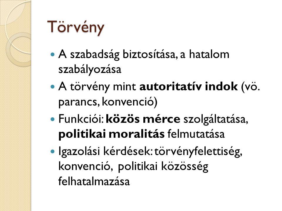 Törvény A szabadság biztosítása, a hatalom szabályozása A törvény mint autoritatív indok (vö.