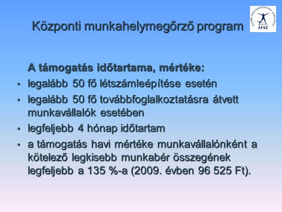 Központi munkahelymegőrző program A támogatás időtartama, mértéke: legalább 50 fő létszámleépítése esetén legalább 50 fő létszámleépítése esetén legal