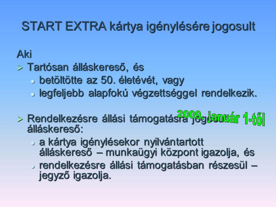 START EXTRA kártya igénylésére jogosult Aki  Tartósan álláskereső, és betöltötte az 50. életévét, vagy betöltötte az 50. életévét, vagy legfeljebb al