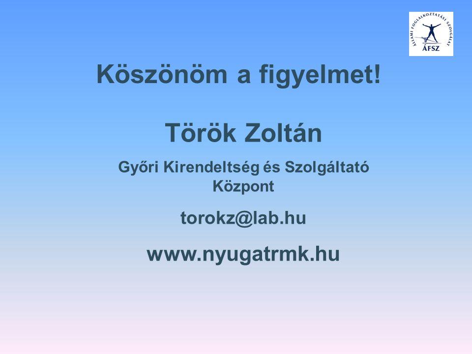 Köszönöm a figyelmet! Török Zoltán Győri Kirendeltség és Szolgáltató Központ torokz@lab.hu www.nyugatrmk.hu