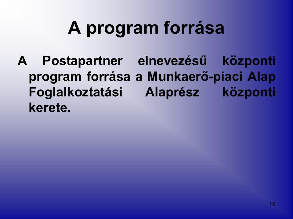 19 A program forrása A Postapartner elnevezésű központi program forrása a Munkaerő-piaci Alap Foglalkoztatási Alaprész központi kerete.