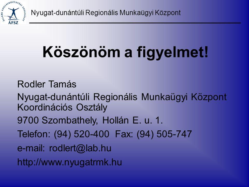 Köszönöm a figyelmet! Nyugat-dunántúli Regionális Munkaügyi Központ Rodler Tamás Nyugat-dunántúli Regionális Munkaügyi Központ Koordinációs Osztály 97
