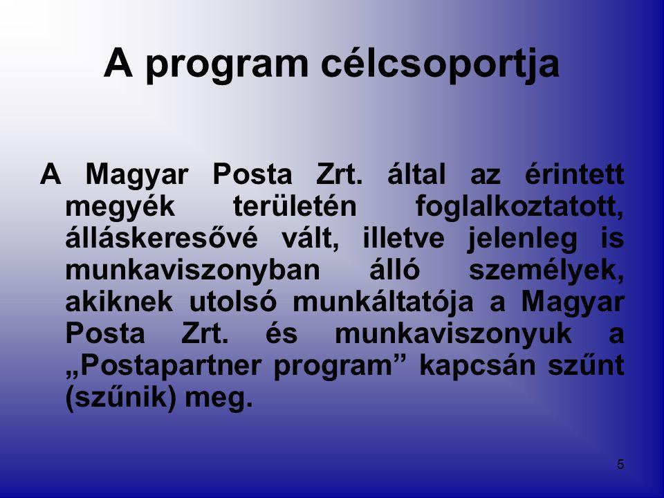 5 A program célcsoportja A Magyar Posta Zrt. által az érintett megyék területén foglalkoztatott, álláskeresővé vált, illetve jelenleg is munkaviszonyb