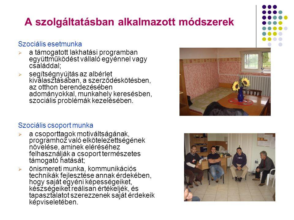A szolgáltatásban alkalmazott módszerek Szociális esetmunka  a támogatott lakhatási programban együttműködést vállaló egyénnel vagy családdal;  segí