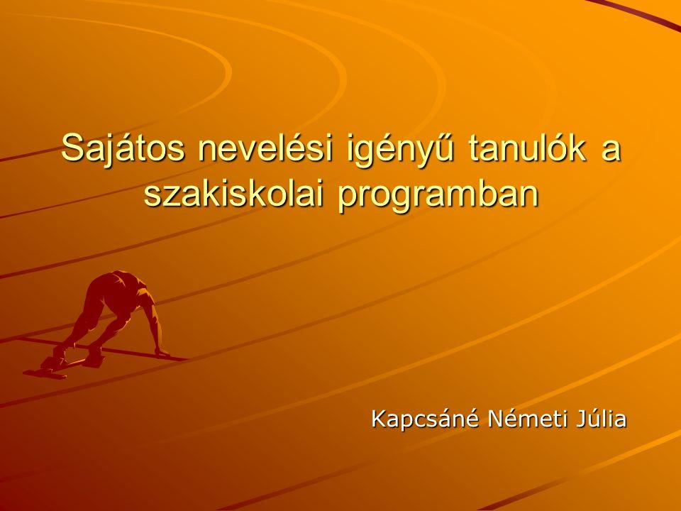 Sajátos nevelési igényű tanulók a szakiskolai programban Kapcsáné Németi Júlia