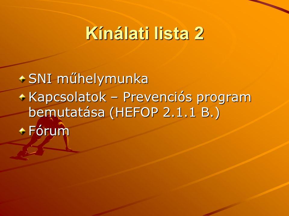 Kínálati lista 2 SNI műhelymunka Kapcsolatok – Prevenciós program bemutatása (HEFOP 2.1.1 B.) Fórum