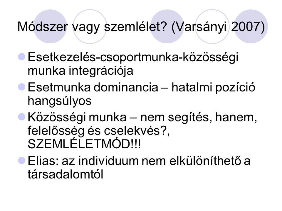 Módszer vagy szemlélet? (Varsányi 2007) Esetkezelés-csoportmunka-közösségi munka integrációja Esetmunka dominancia – hatalmi pozíció hangsúlyos Közöss