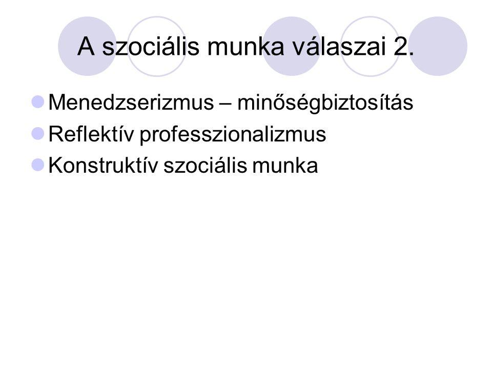 A szociális munka válaszai 2. Menedzserizmus – minőségbiztosítás Reflektív professzionalizmus Konstruktív szociális munka