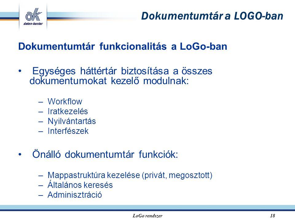LoGo rendszer18 Dokumentumtár a LOGO-ban Dokumentumtár funkcionalitás a LoGo-ban Egységes háttértár biztosítása a összes dokumentumokat kezelő modulnak: –Workflow –Iratkezelés –Nyilvántartás –Interfészek Önálló dokumentumtár funkciók: –Mappastruktúra kezelése (privát, megosztott) –Általános keresés –Adminisztráció