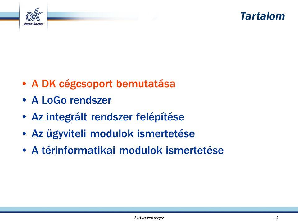 LoGo rendszer2 A DK cégcsoport bemutatása A LoGo rendszer Az integrált rendszer felépítése Az ügyviteli modulok ismertetése A térinformatikai modulok ismertetése Tartalom
