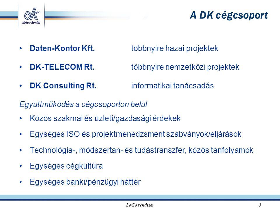 LoGo rendszer3 Daten-Kontor Kft.többnyire hazai projektek DK-TELECOM Rt.többnyire nemzetközi projektek DK Consulting Rt.informatikai tanácsadás Együttműködés a cégcsoporton belül Közös szakmai és üzleti/gazdasági érdekek Egységes ISO és projektmenedzsment szabványok/eljárások Technológia-, módszertan- és tudástranszfer, közös tanfolyamok Egységes cégkultúra Egységes banki/pénzügyi háttér A DK cégcsoport