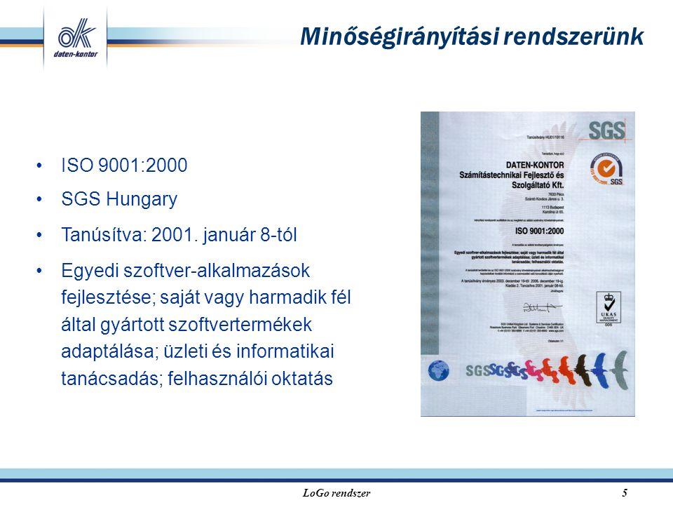 LoGo rendszer5 ISO 9001:2000 SGS Hungary Tanúsítva: 2001. január 8-tól Egyedi szoftver-alkalmazások fejlesztése; saját vagy harmadik fél által gyártot