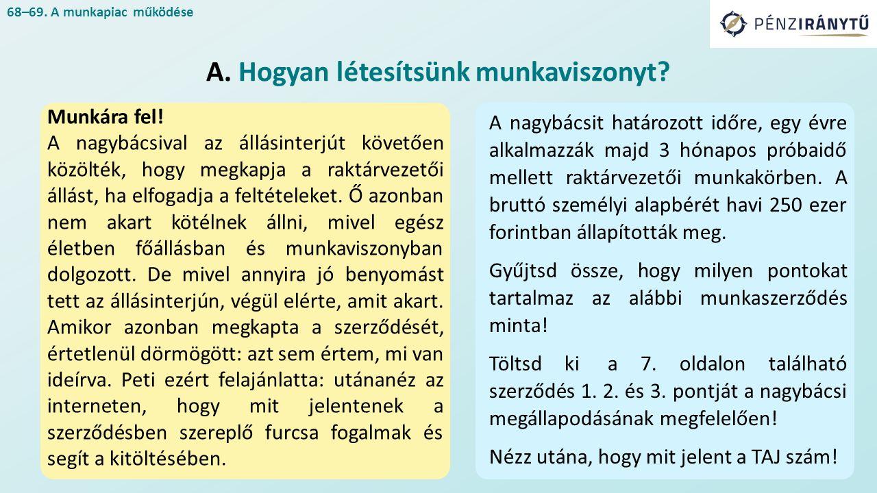 68–69. A munkapiac működése A. Hogyan létesítsünk munkaviszonyt.