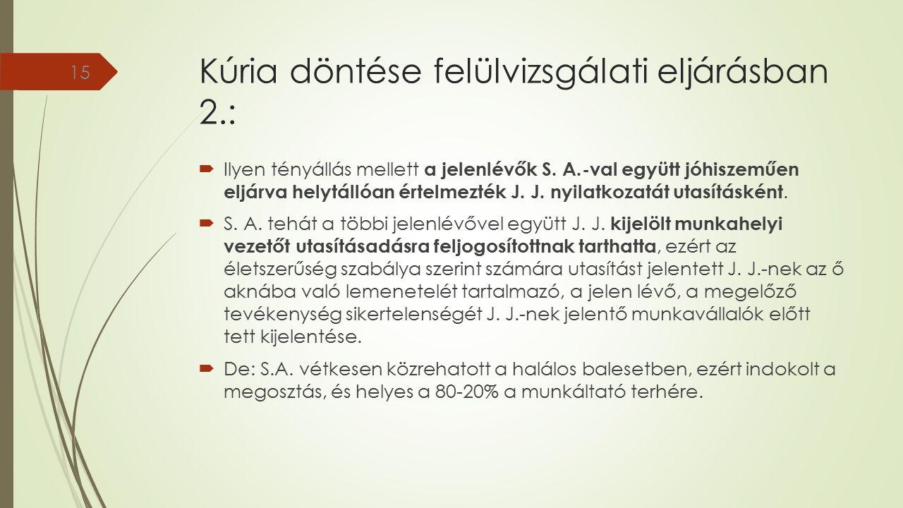 Kúria döntése felülvizsgálati eljárásban 2.:  Ilyen tényállás mellett a jelenlévők S.