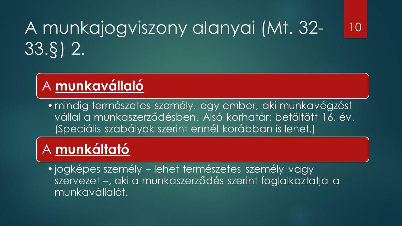 A munkajogviszony alanyai (Mt. 32- 33.§) 2.