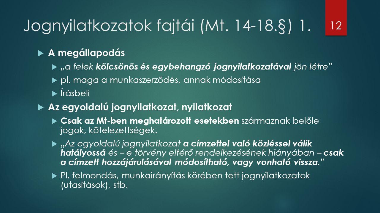 Jognyilatkozatok fajtái (Mt. 14-18.§) 1.