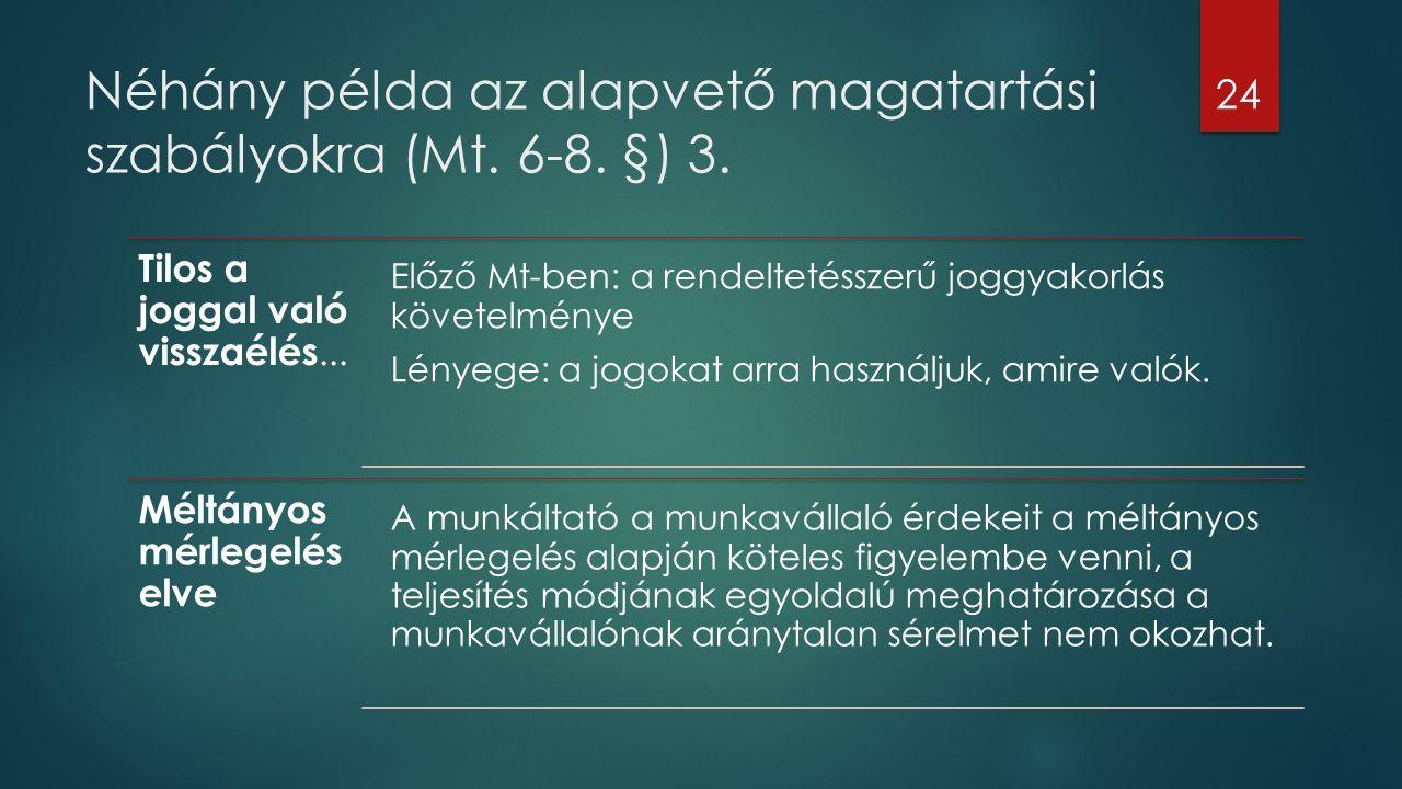 Néhány példa az alapvető magatartási szabályokra (Mt. 6-8. §) 3. Tilos a joggal való visszaélés... Előző Mt-ben: a rendeltetésszerű joggyakorlás követ