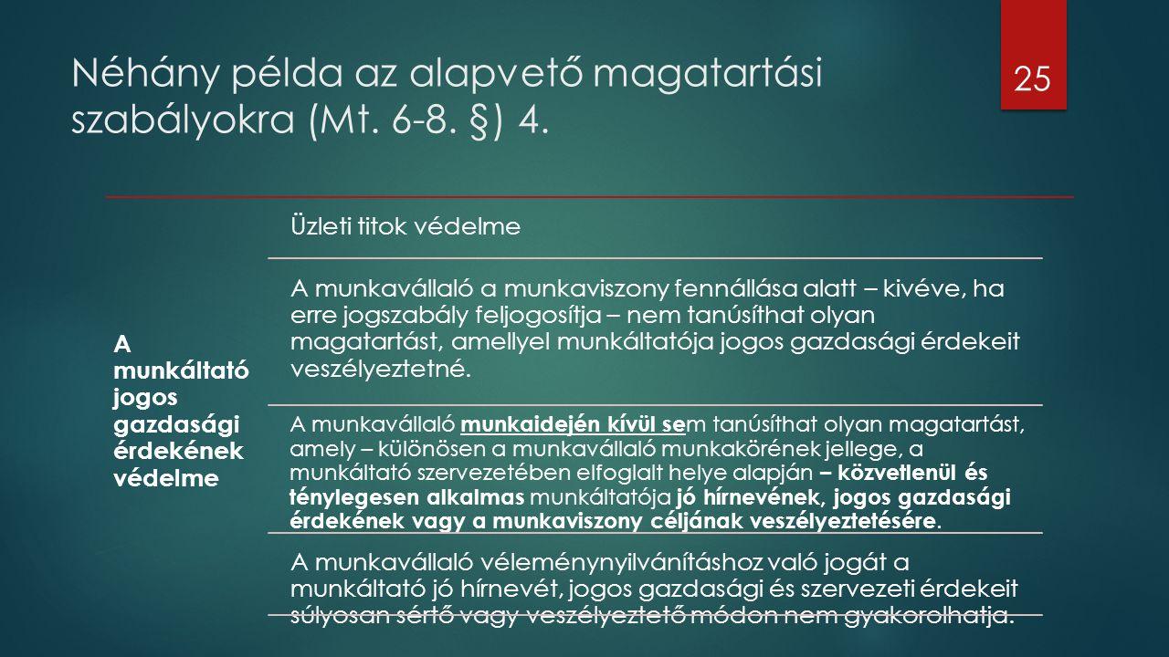 Néhány példa az alapvető magatartási szabályokra (Mt. 6-8. §) 4. 25 A munkáltató jogos gazdasági érdekének védelme Üzleti titok védelme A munkavállaló
