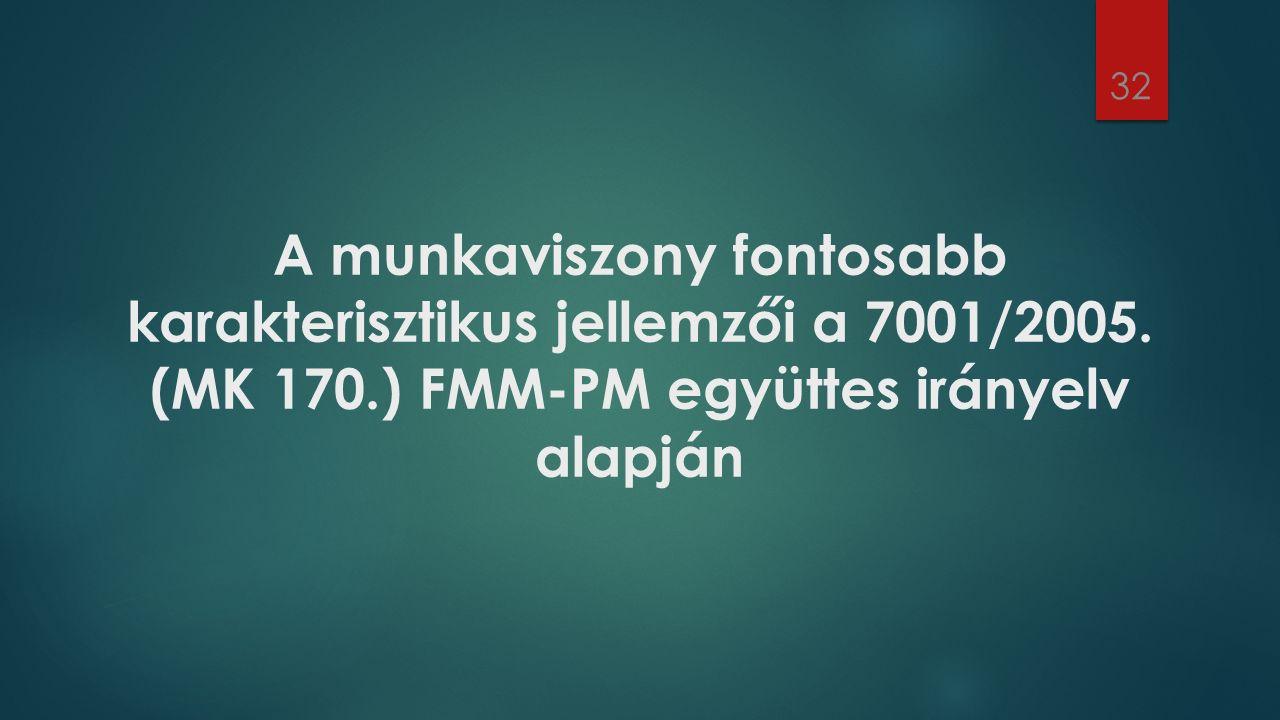 A munkaviszony fontosabb karakterisztikus jellemzői a 7001/2005. (MK 170.) FMM-PM együttes irányelv alapján 32