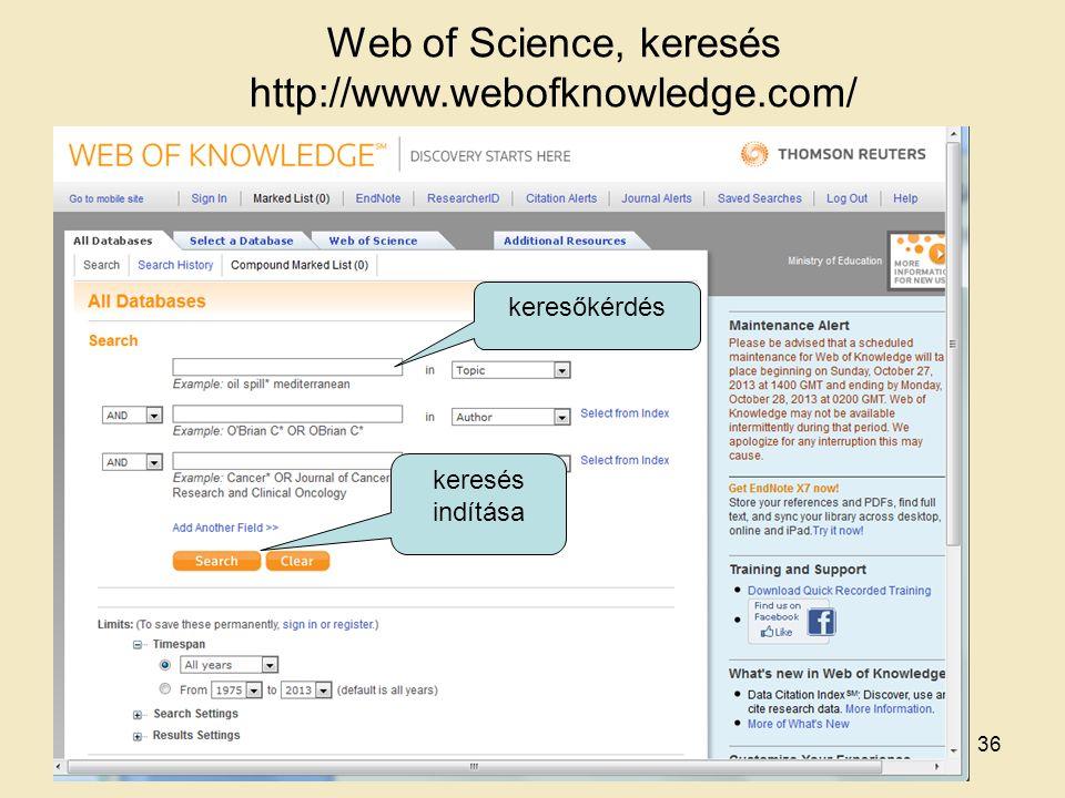 Web of Science, keresés http://www.webofknowledge.com/ keresőkérdés keresés indítása 36