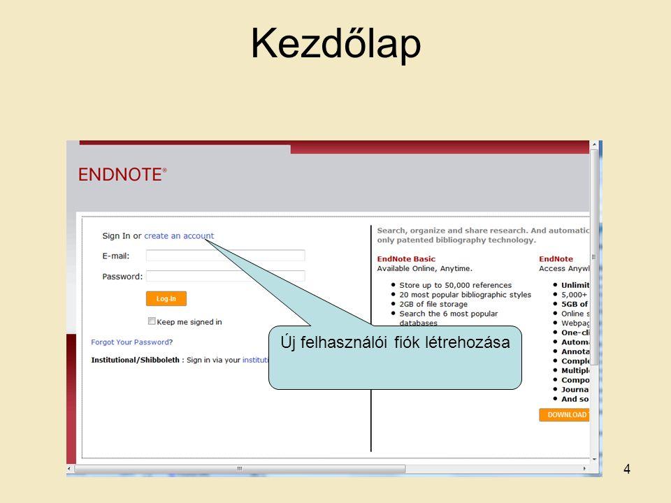 Szinkronizálás, Endnote Web és Endnote között 55 Email cím és jelszó megadása szükséges, amivel regisztráltunk az Endnote Web szolgáltatásra