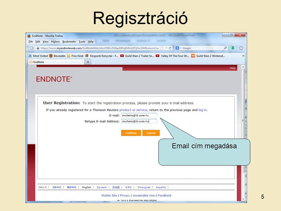 Regisztráció Email cím megadása 5