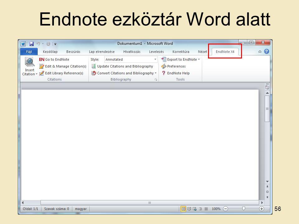 Endnote ezköztár Word alatt 56